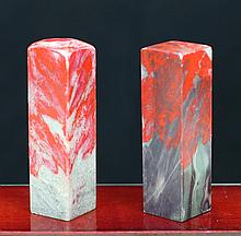 TWO PIECES OF BLOOD STONE SEALS