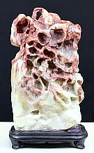 SHOU-SHAN RED AND WHITE FURONG STONE CARVING