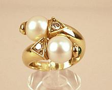 Bague toi et moi en or et perles 8,2g brut