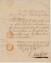DS by Virginia Treasurer Ambler, 1796: Potomac R.