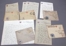 5 WWI handwritten letters w/ stamps, 1918-1919.