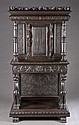 Carved walnut court cupboard w/ glass cabinet.