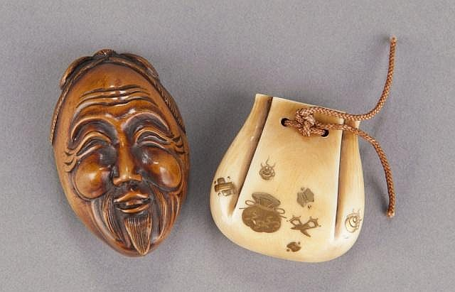 A group of two ivory netsuke.