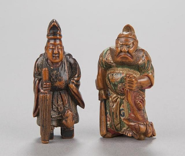 A group of two painted wood netsuke.