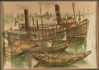 Kaatz, Erich (Ger., 1909-1971) watercolor of boats at dock