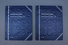 Two Roosevelt Dime books. A group a two Roosevelt dime books ranging from 1946-1965D. 130 coins in total with both books having added coins from 1967-1975. Including 98 pre 1964 coins.