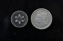 Us Silver piece 3 cent 1851 and Nickel 3 cent 1968 A Us Silver piece 3 cent 1851 and Nickel 3 cent 1968.
