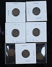 A  lot of Indian Head pennies and 1856 Large Cent. A lot of 7 Indian Head pennies. 1856 U.S. large cent.