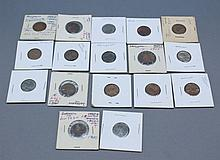 A lot of U.S. pennies. A lot of 17 U.S. pennies. Some are mis-printed, off centered and thin. 1922-D and 1960-D .