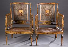 Pair of satinwood caned Armchairs.