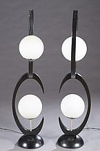 Pair of black modern floor lamps.