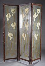 An Art Deco 3 panel glass screen.