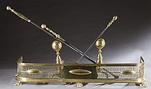 Brass baluster andirons.
