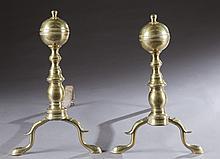Brass baluster andirons, 19th century.