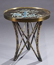 Laverne Japanesque patinated round table.