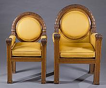 Pair of Gothic Revival arm chairs.