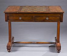 Mahogany Regency style inlaid games table.