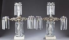 Pair of molded & cut glass 3-light gas lamps.