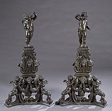Two bronze andirons, 19th century.