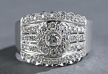 Diamond and 14kt white gold ladies band.