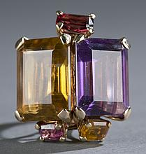 Amethyst and citrine cocktail ring.
