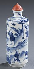 A Chinese porcelain cylinder form snuff bottle.