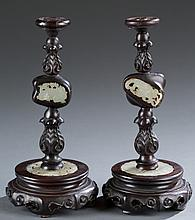 Pair of Chinese carved rosewood incense tapers.