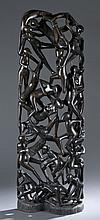 Modern African tree of life wooden sculpture.