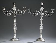 Silver candelabras, Continental .800 c. 1800.