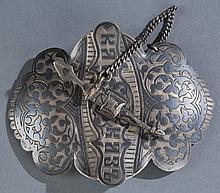 A Russian Sterling Niello belt buckle.