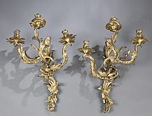 Pair of Louis XV style bronze 3 light wall sconces