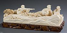 Chinese Cultural Revolution ivory figural scene.