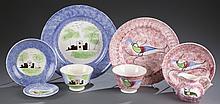 8 pieces of folk art spatterware / spongeware.