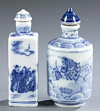 Pair of Chinese blue & white snuff bottles.