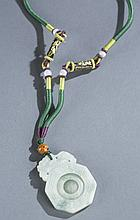 Chinese jade pendant with jade beads necklace.
