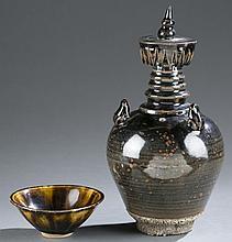 Pair of Chinese brown glazed stoneware.