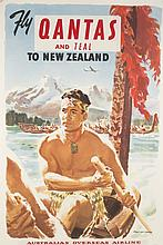 2 Qantas and Teal airline posters, mid-20th c.