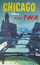 4 Travel posters incl 2 TWA posters, Austin Briggs