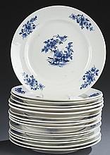 Set of 12 French blue & white porcelain plates.