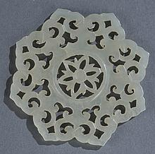 Chinese carved white jade snowflake.
