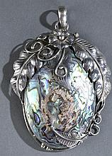 Mid 20th century sterling floral and shell pendant
