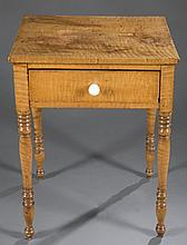 Tiger maple side table, c.1820.