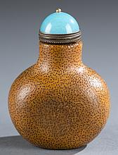 Chinese bamboo snuff bottle w/glass stopper.