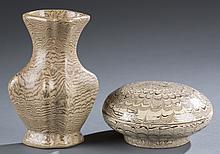 Pair of Jiautan porcelain vessels.