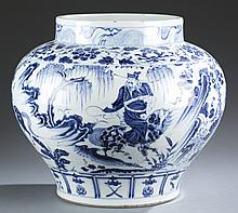 Chinese Yuan-Style blue and white porcelain jar.