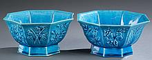 Pair of Chinese octagonal porcelain bowls.