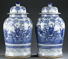 Pair of Chinese blue and white porcelain jars.