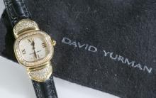 David Yurman 18k gold and diamond capri watch.