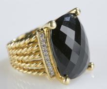 David Yurman 18k gold Wheaton ring with onyx.