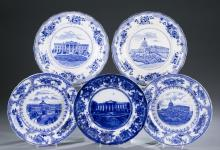 5 W. Adams & Co. blue transferware plates.